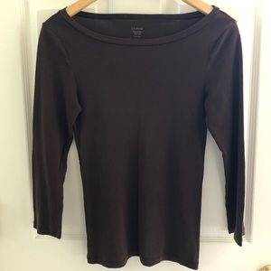 J. Crew Fitted long sleeve tee chocolate brown